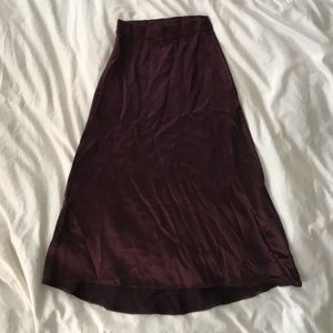 Maroon A Line Skirt with Satin Finish